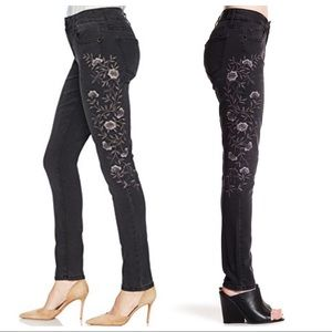 Seven7 Skinny Embroidered Jeans Faded Black sz 14